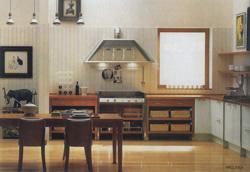 Если проем между кухней и столовой достаточно широкий, то обе зоны должны сочетаться по стилю